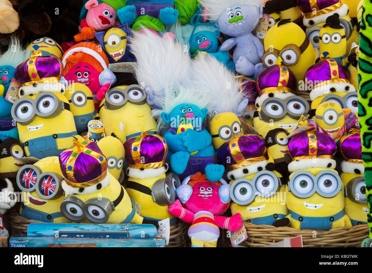 Minions and Trolls toys for sale at an autumn festival. UK Stock Photo
