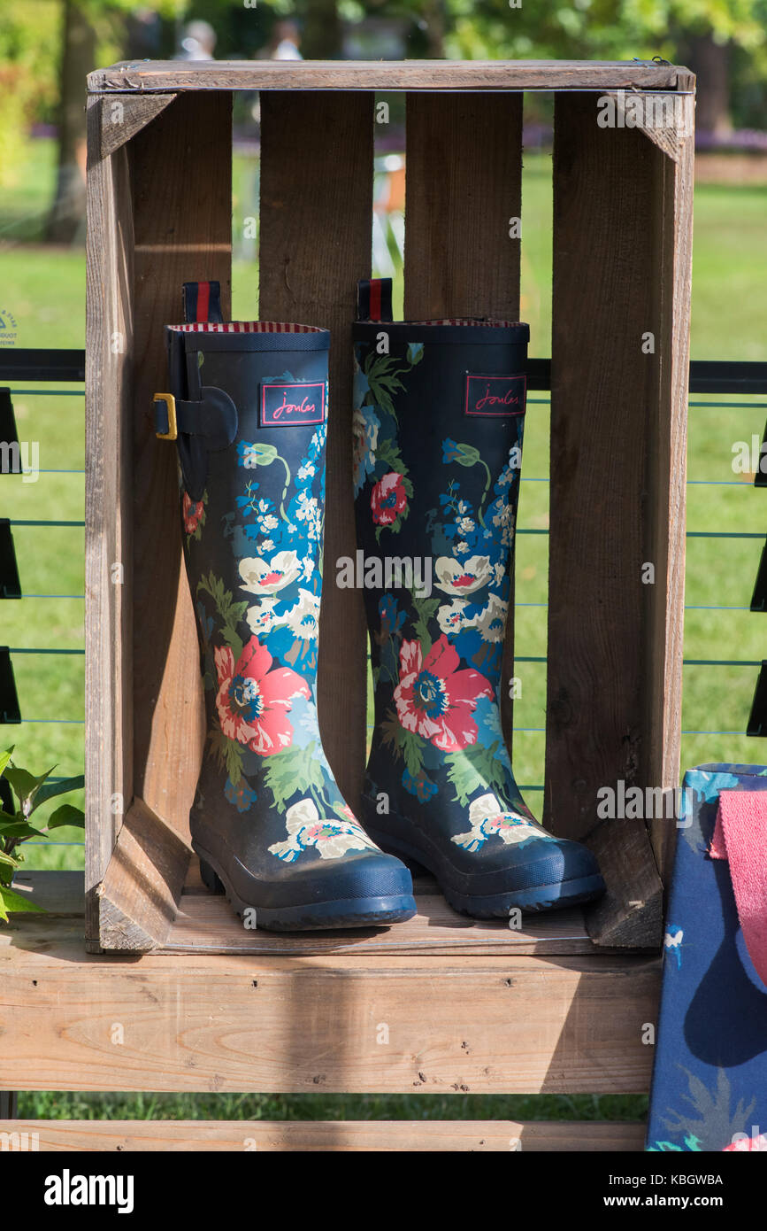 Floral wellington boots in a wooden crate at RHS Wisley gardens autumn flower show. Surrey, UK - Stock Image