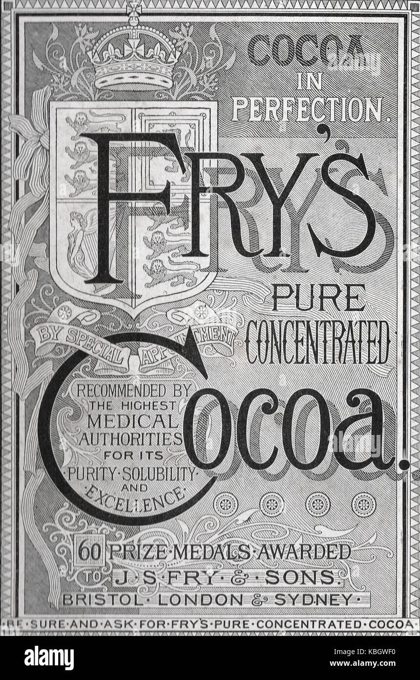 Fry's Concentrated Cocoa advert 1893 - Stock Image