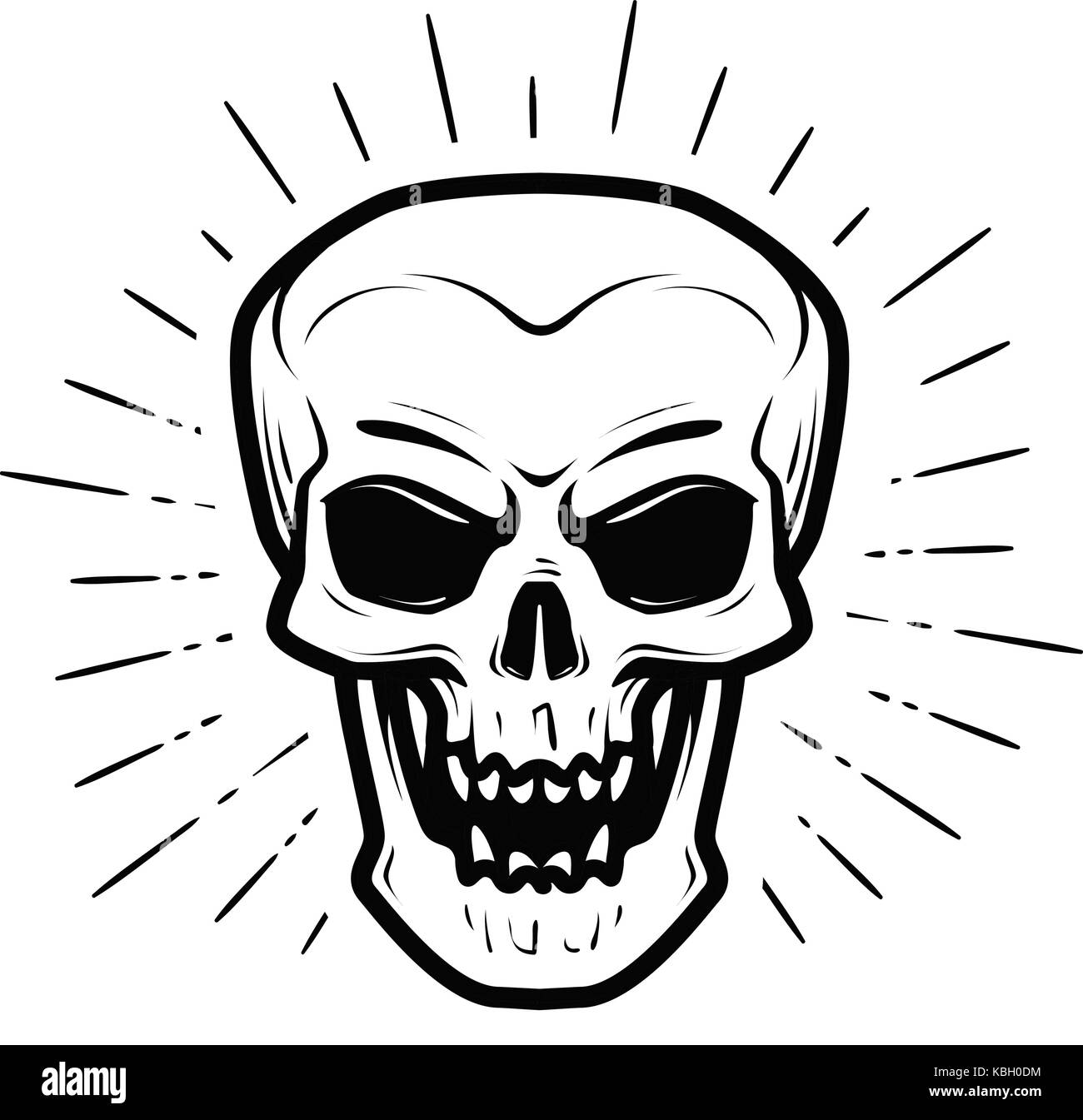 Scary human skull. Jolly Roger, halloween, zombie, skeleton, death symbol. Vector illustration - Stock Image