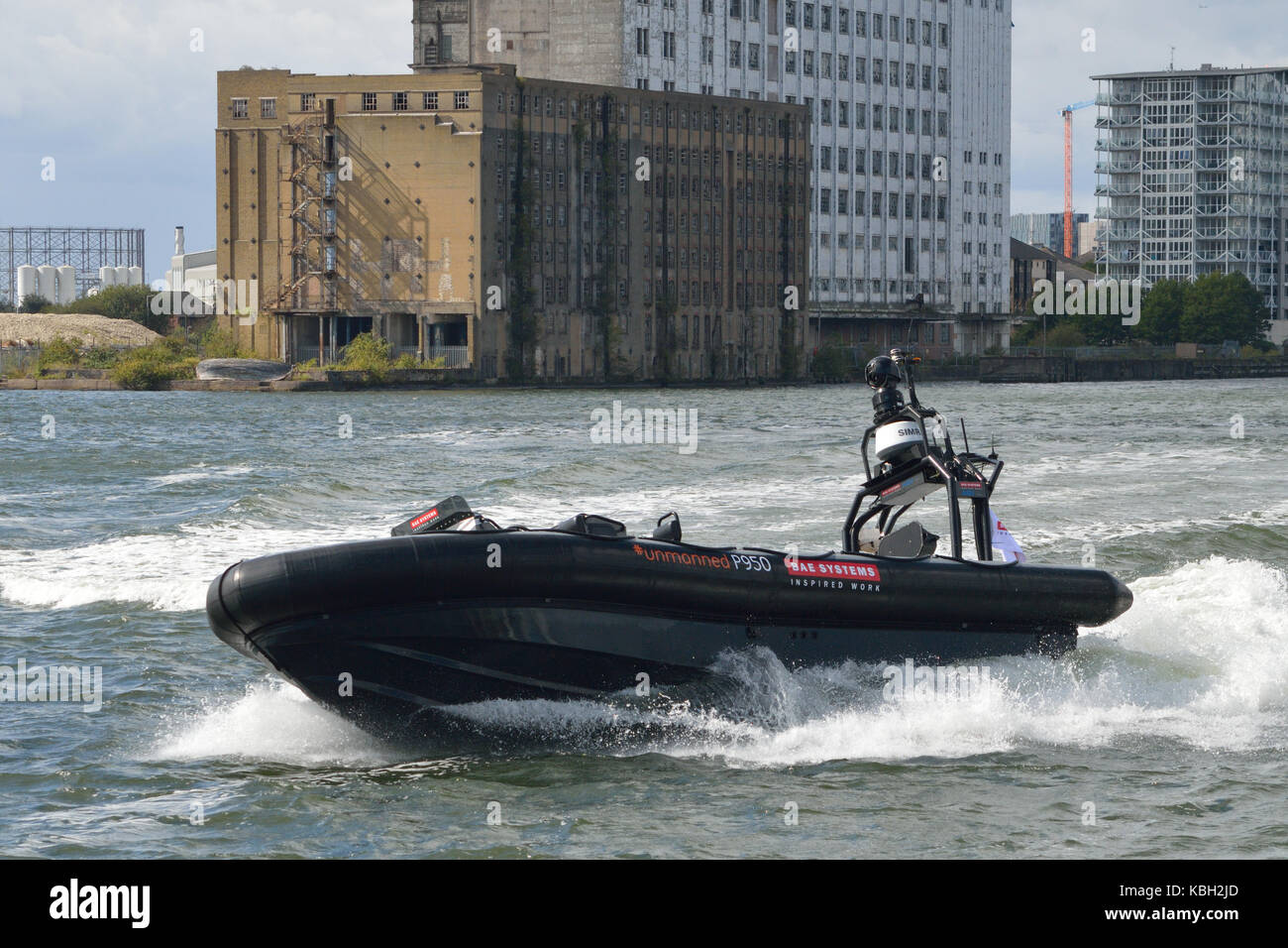 BAE Systems unmanned Pacific 950 RHIB being demonstrated at DSEi 2017 Stock Photo
