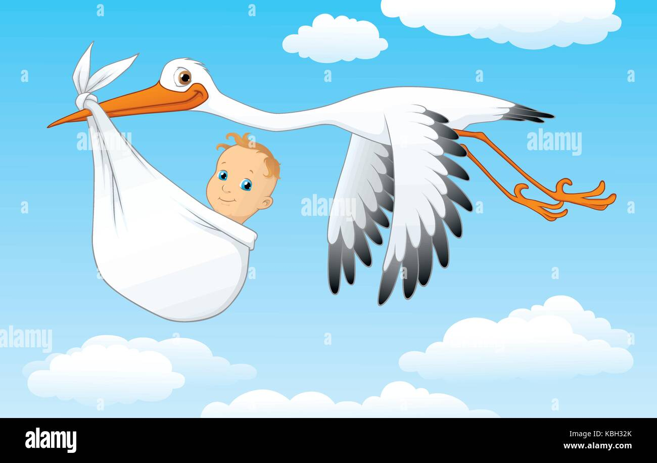 Vector cartoon of a stork carrying a baby in a pouch - Stock Vector