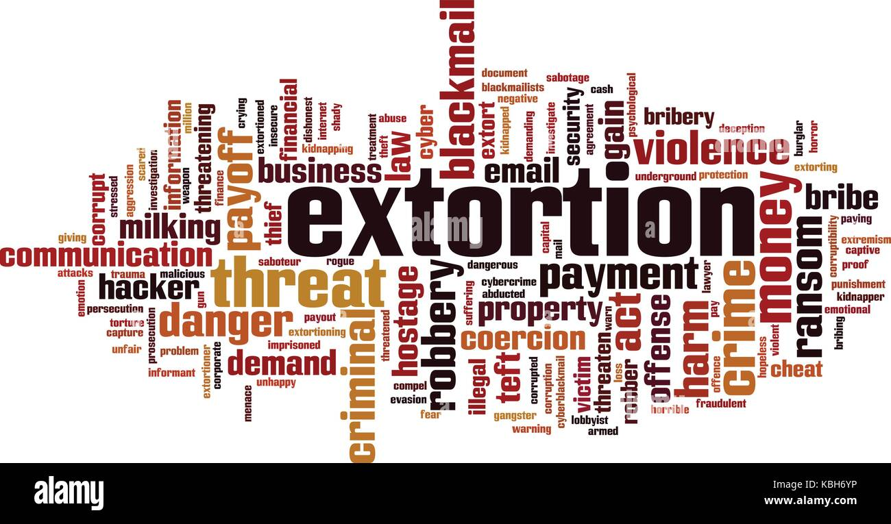 Extortion word cloud concept. Vector illustration Stock Vector