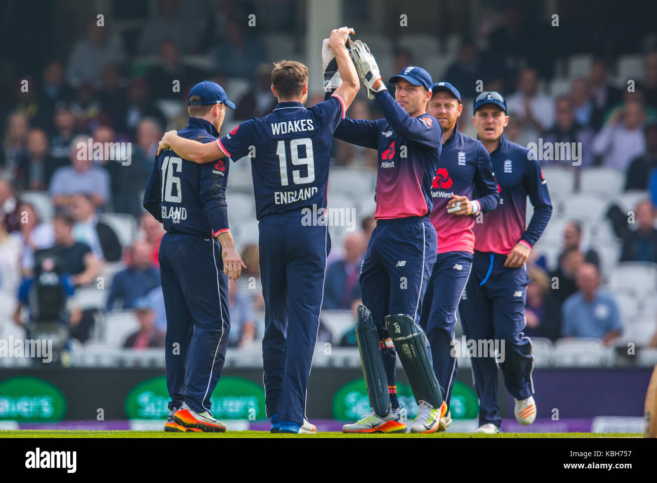 London,UK. 27 September 2017. England celebrate as Woakes gets his second wicket after Kyle Hope is caught by keeper - Stock Image