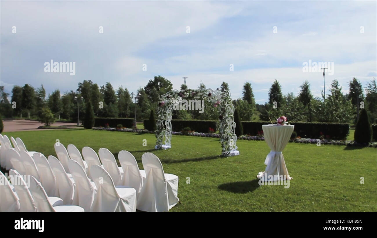 Beautiful wedding decoration for marriage registration decoration beautiful wedding decoration for marriage registration decoration set on the bridge in a beautiful place outdoor against the background of the lake junglespirit Choice Image