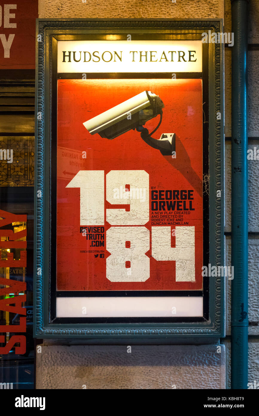 1984, a play based on the iconic dystopian novel by George Orwell at the Hudson Theatre in New York City - Stock Image