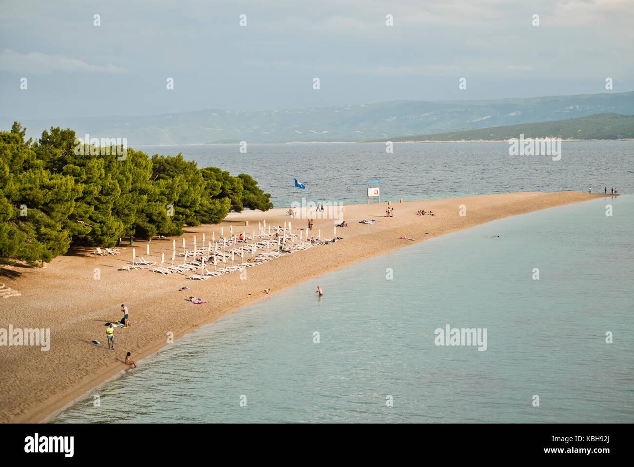 Zlatni Rat (Golden Horn) beach, Brac island, Croatia - Stock Image