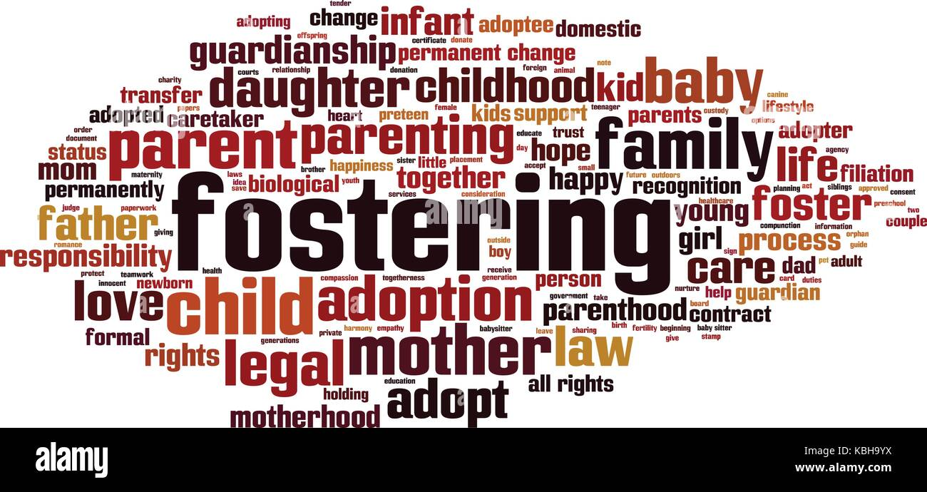 Fostering word cloud concept. Vector illustration - Stock Image