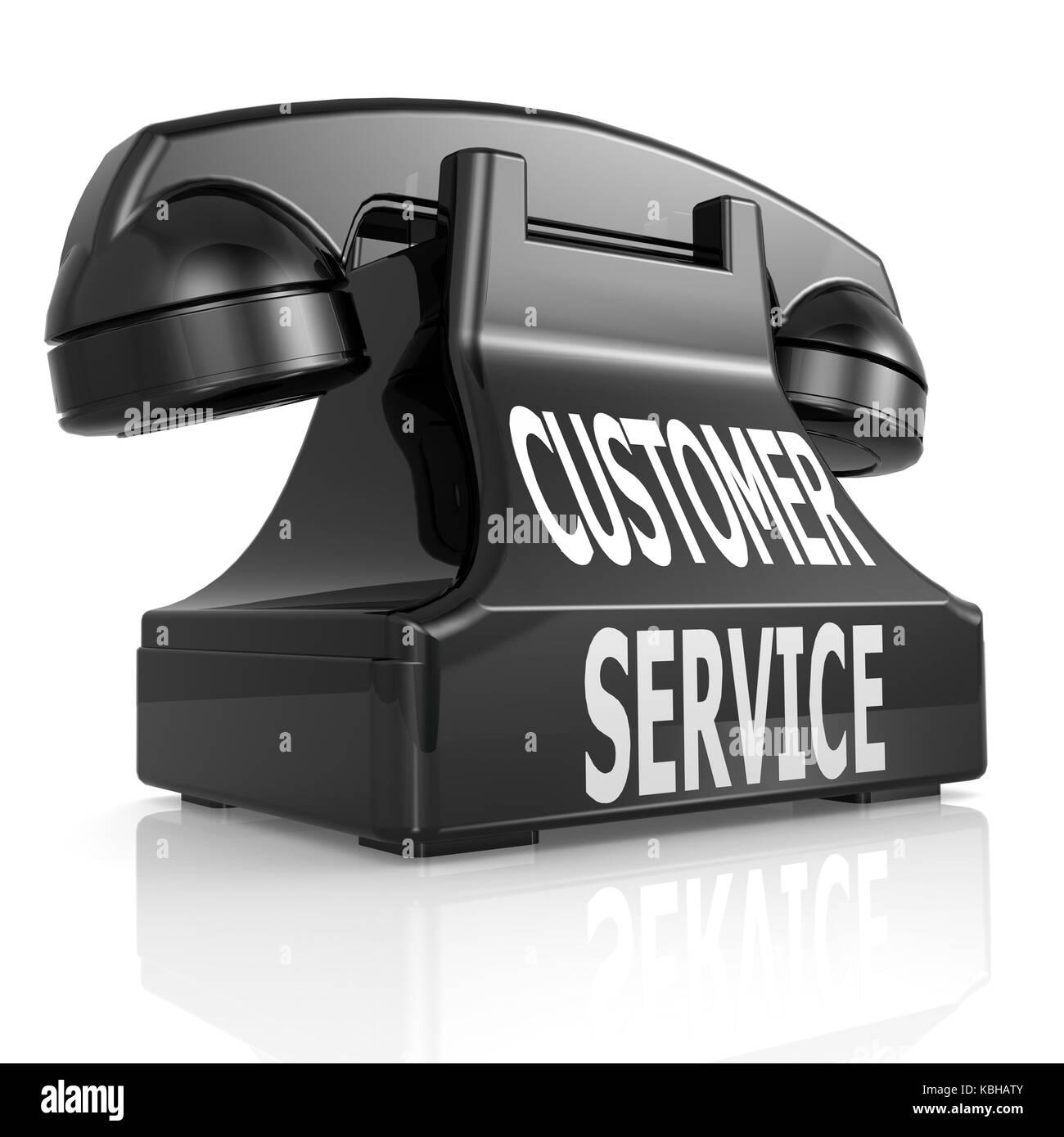 Black customer service phone image with hi-res rendered artwork that could be used for any graphic design. Stock Photo
