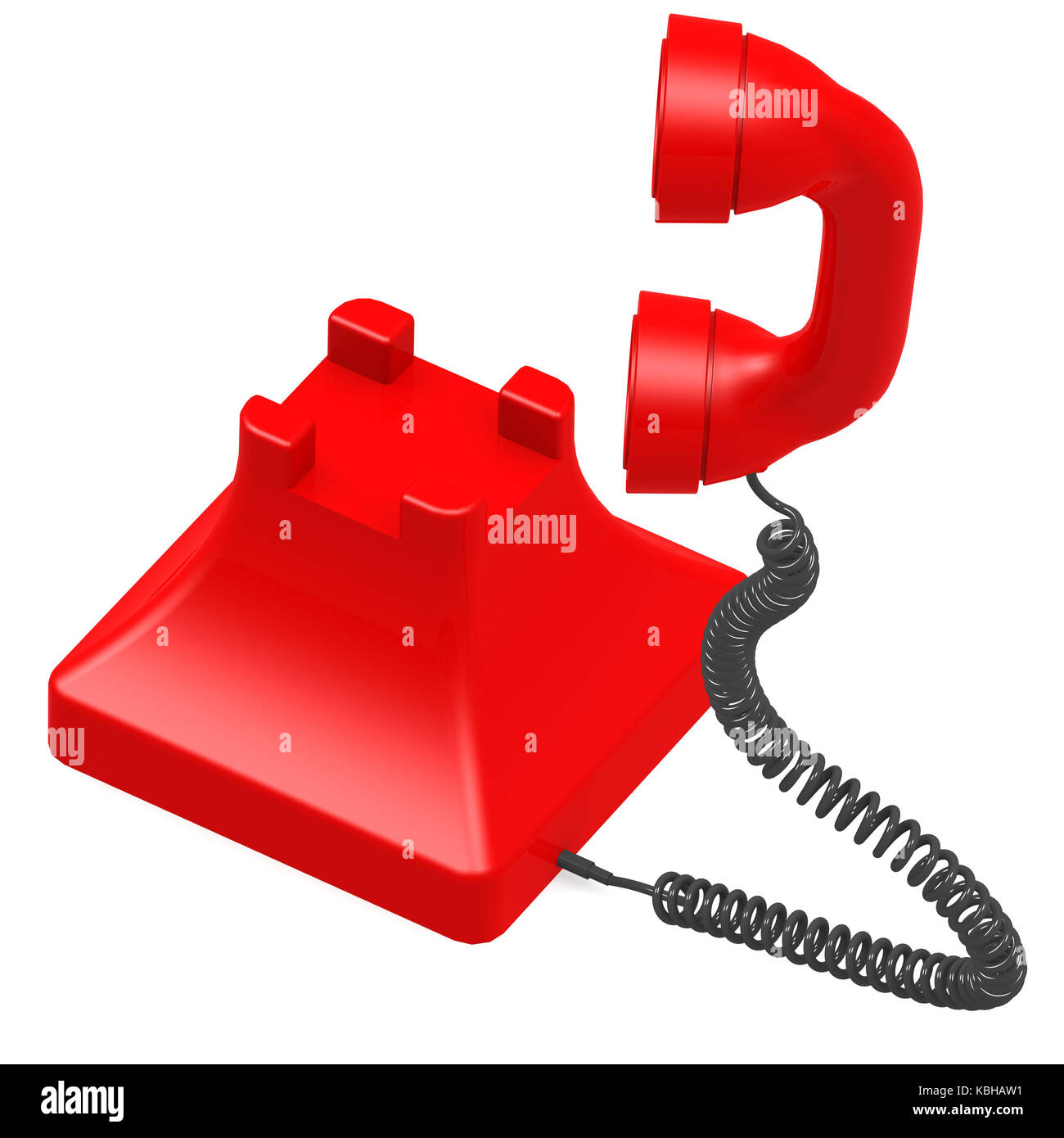 Red dial phone image with hi-res rendered artwork that could be used for any graphic design. Stock Photo