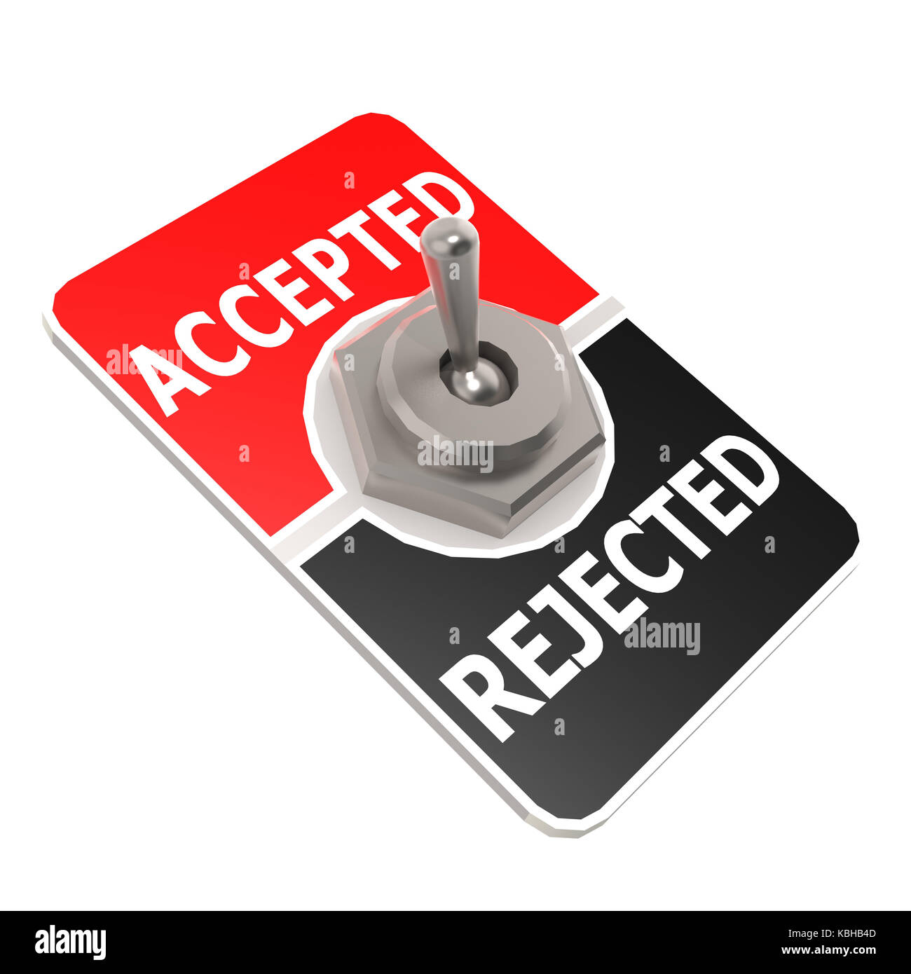 Accepted and rejected toggle switch image with hi-res rendered artwork that could be used for any graphic design. - Stock Image