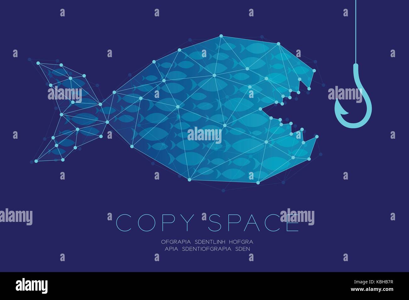 Network Marketing Online set Advertising with fishing rod and shoal or school of small fish concept idea illustration - Stock Image