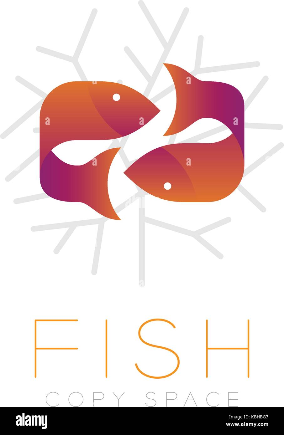 Two Fish or Pisces symbol icon and coral set orange violet gradient ...