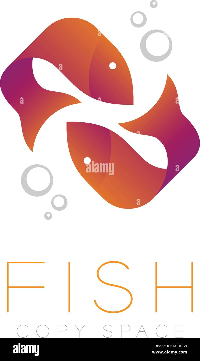 Two Fish or Pisces symbol icon and air bubble set orange violet ...