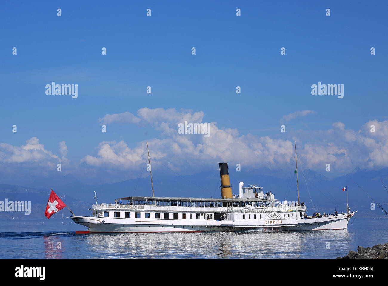 Steamboat 'Simplon' sails to Evian-les-Bains, Leman Lake, France - Stock Image
