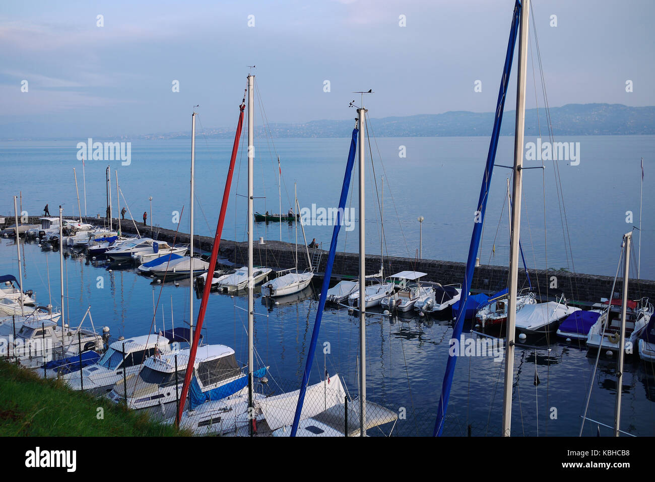 Pleasance harbor at sunset, in Meillerie, Leman Lake,, Savoie, France - Stock Image
