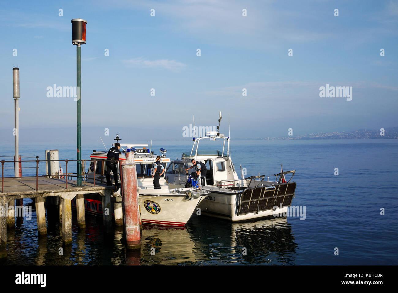 Swiss Gendarmerie boat on Leman Lake, Meillerie, France - Stock Image