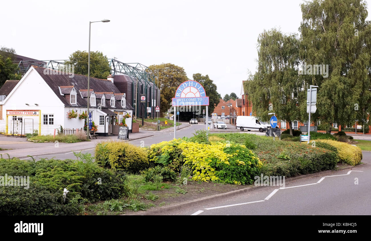 Welcome to Redhill sign on roundabout Surrey UK - Stock Image