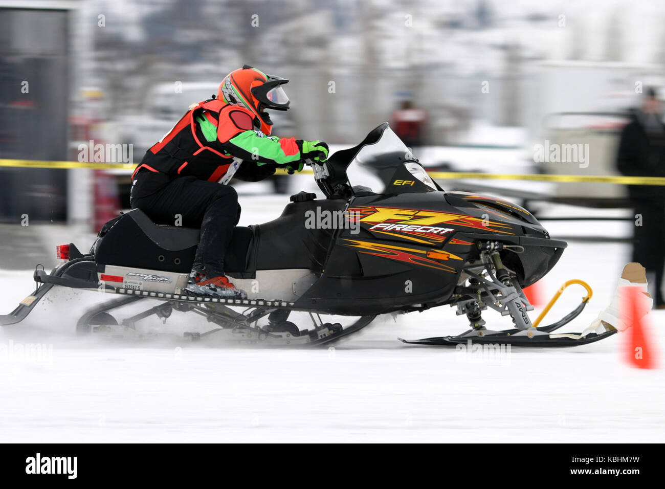 Snowmobile drag racing is an event that takes place during