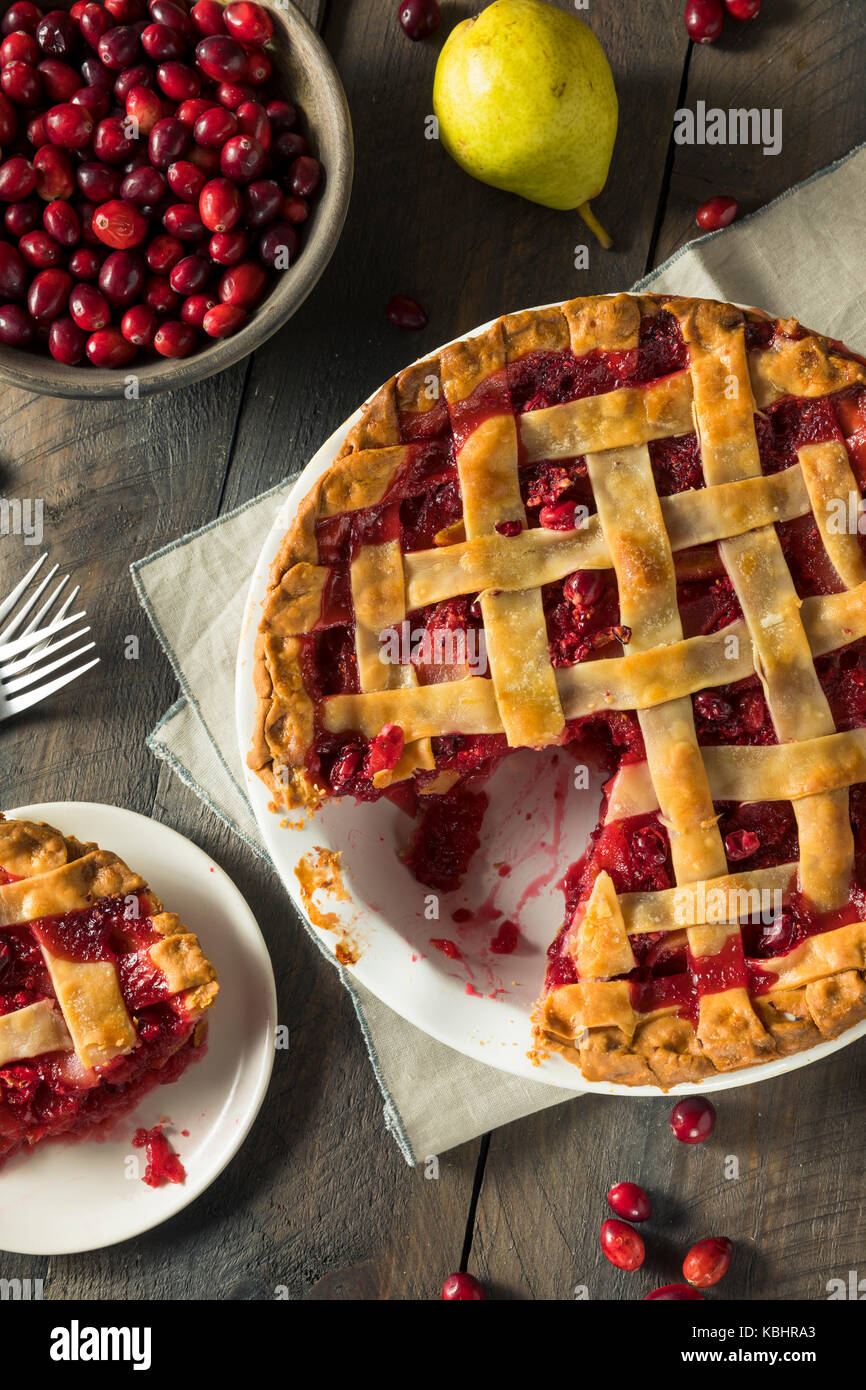 Sweet Homemade Cranberry and pear Pie for Fall - Stock Image