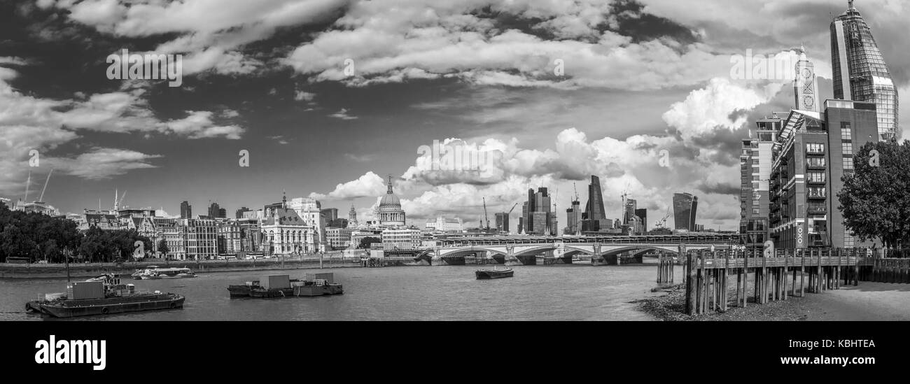 Panoramic view across River Thames and Blackfriars Bridge towards the City of London with iconic historic and modern - Stock Image