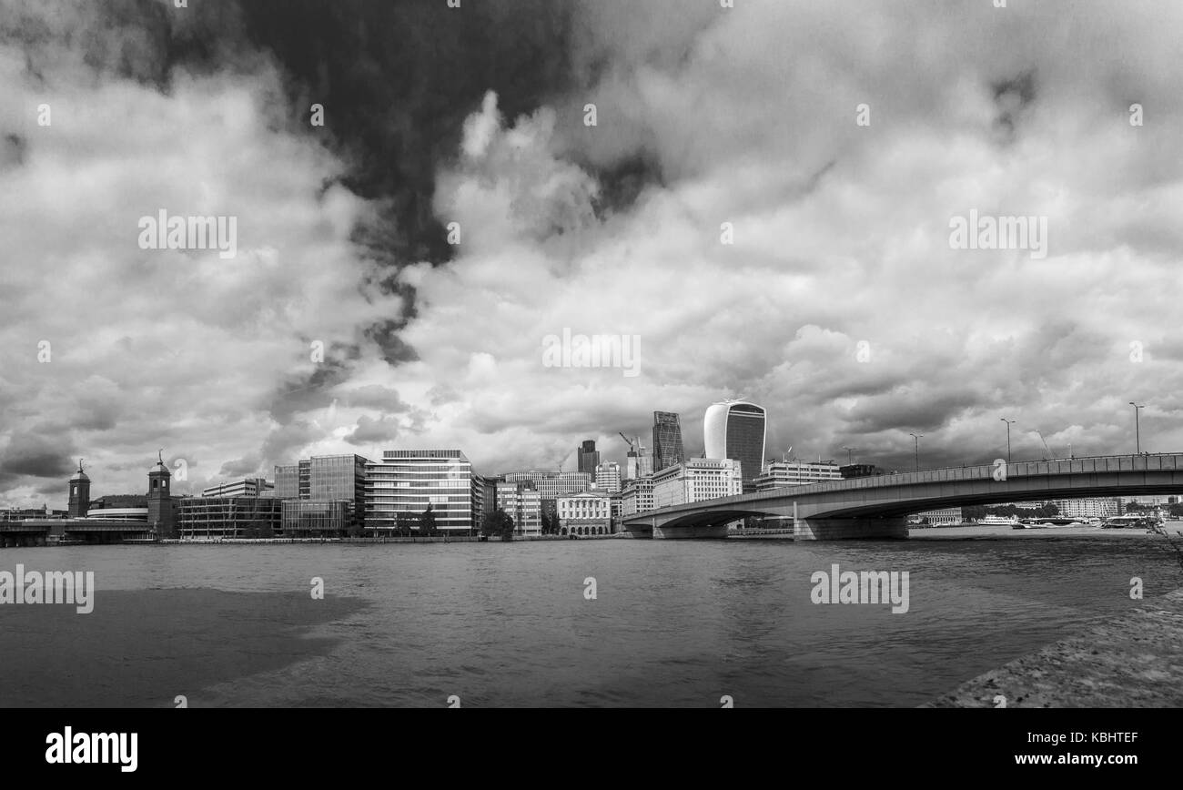 Panoramic view: River Thames north bank to the City of London by London Bridge - Walkie Talkie, Cheesegrater, Adelaide - Stock Image