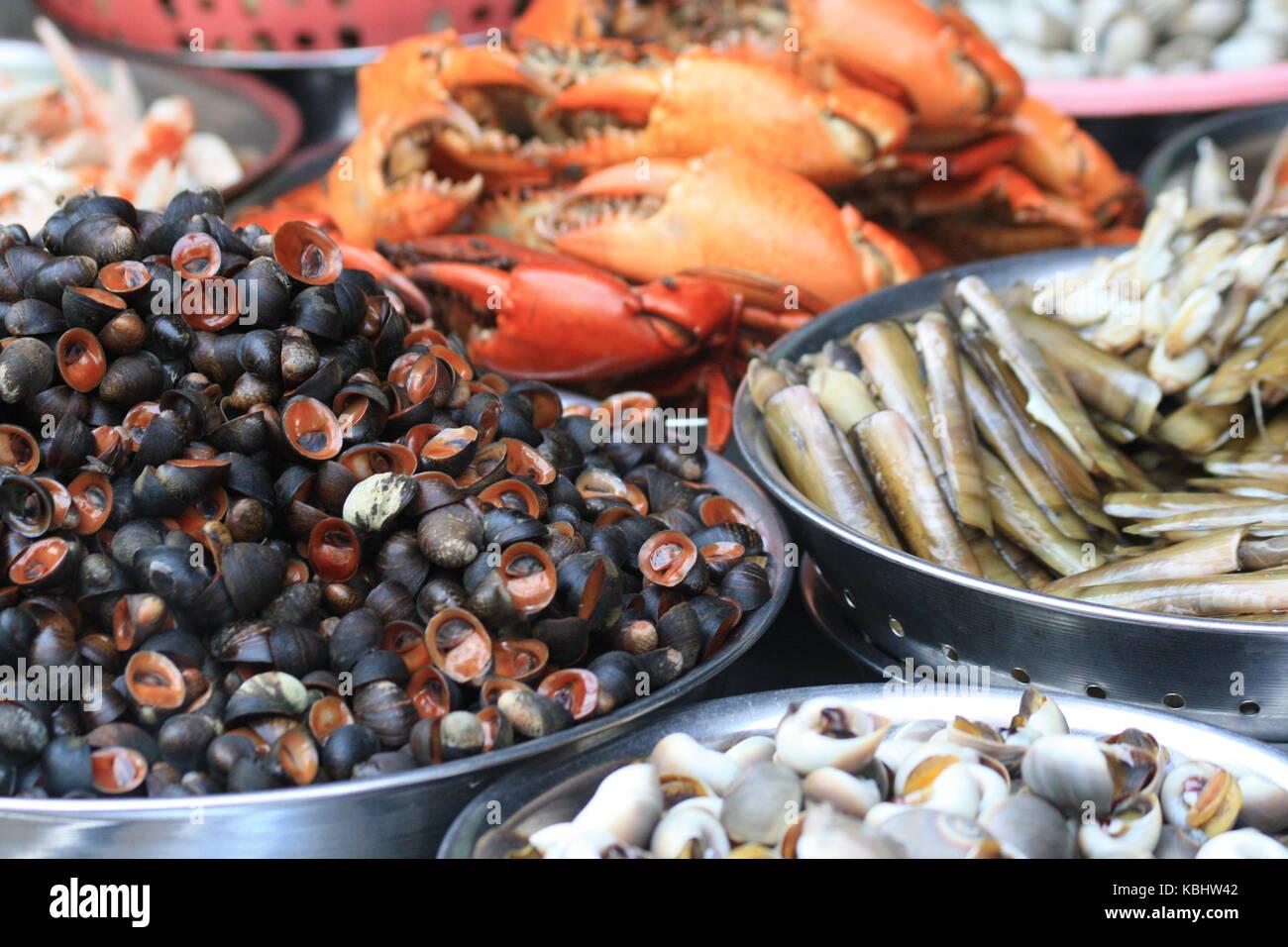 Muscheln und Schnecken auf Markt in Vietnam - Stock Image