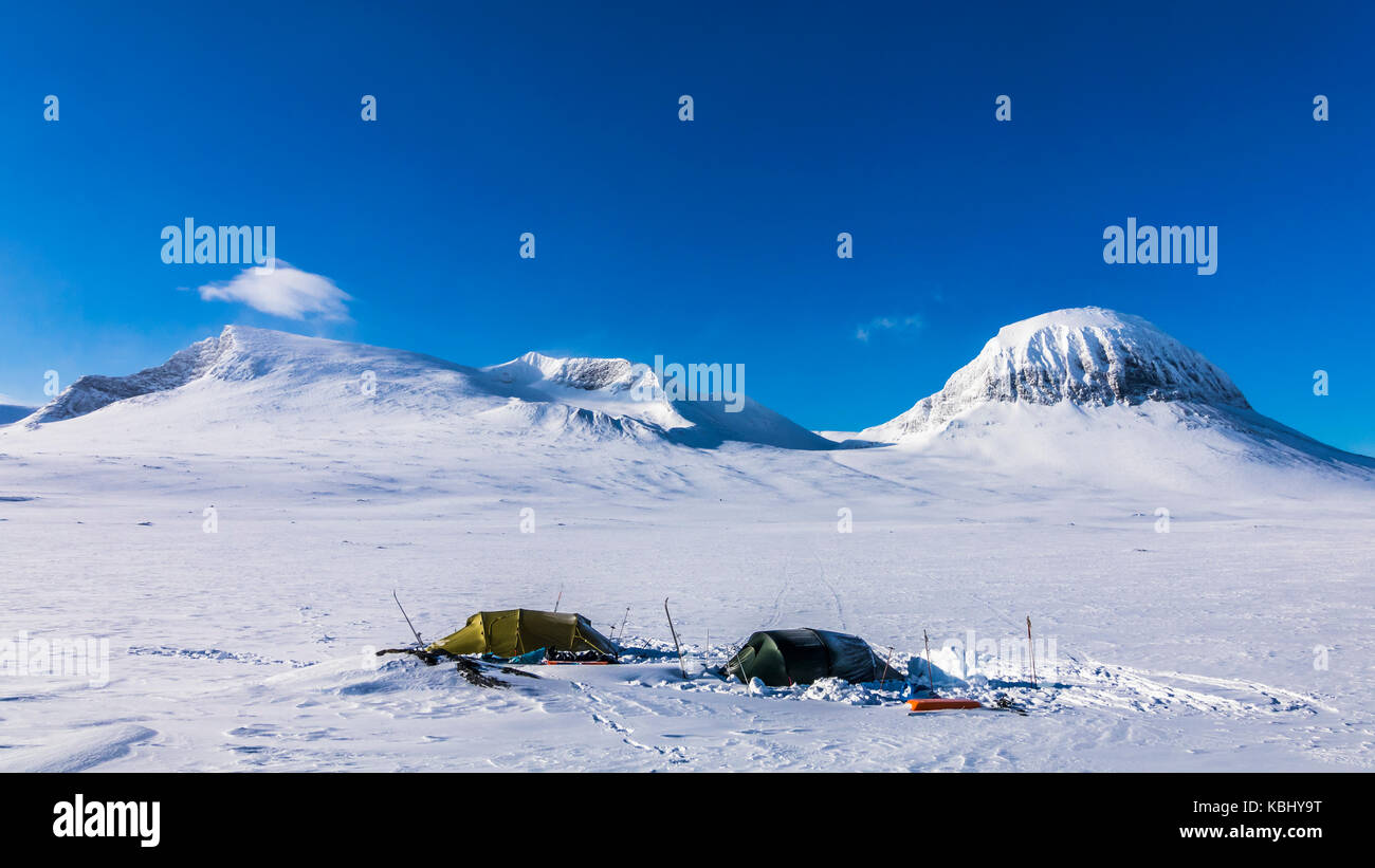 Two tunnel tents in Sarek national park - Stock Image