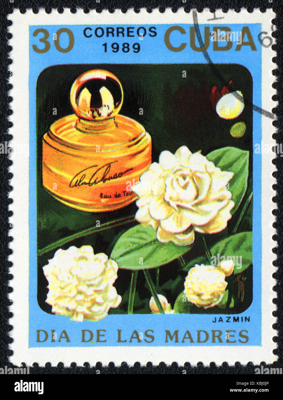 A stamp printed in CUBA shows a Bottle of jazmin perfume, circa 1989 - Stock Image