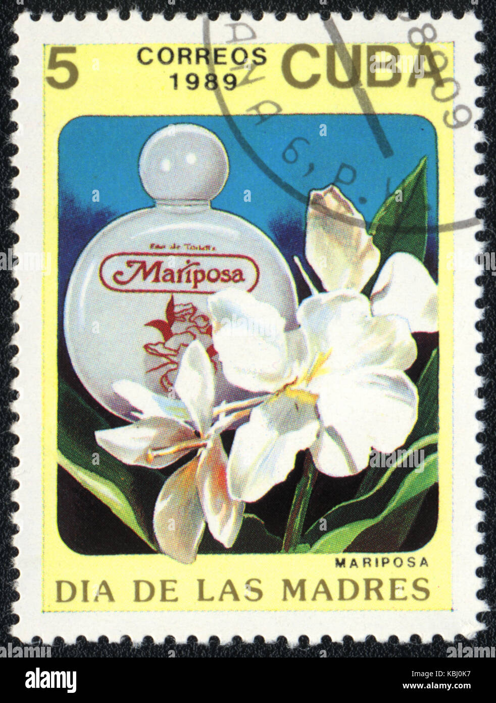A stamp printed in CUBA shows a Bottle of mariposa perfume, circa 1989 - Stock Image