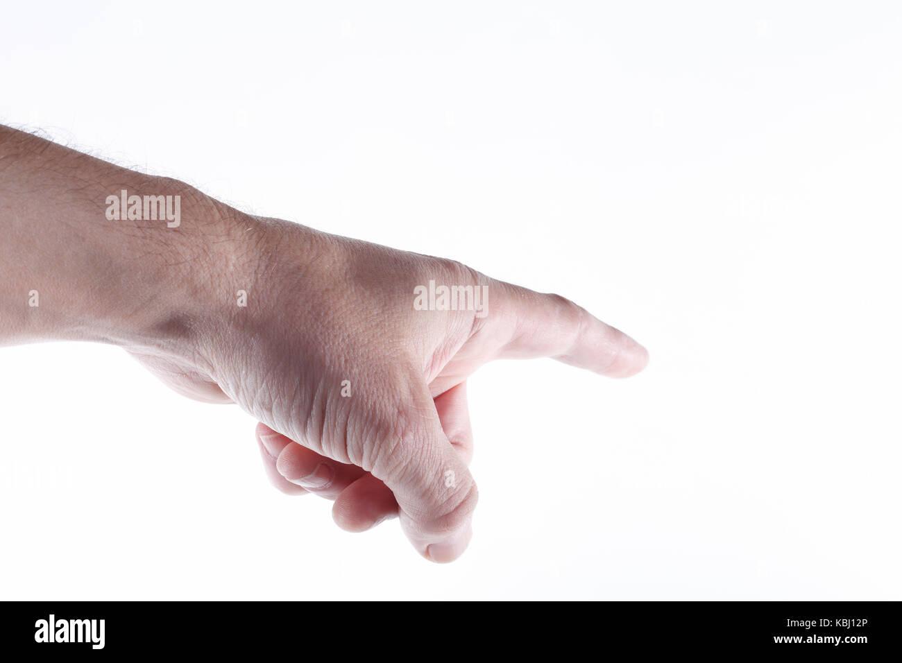 Man pointing on white background. - Stock Image