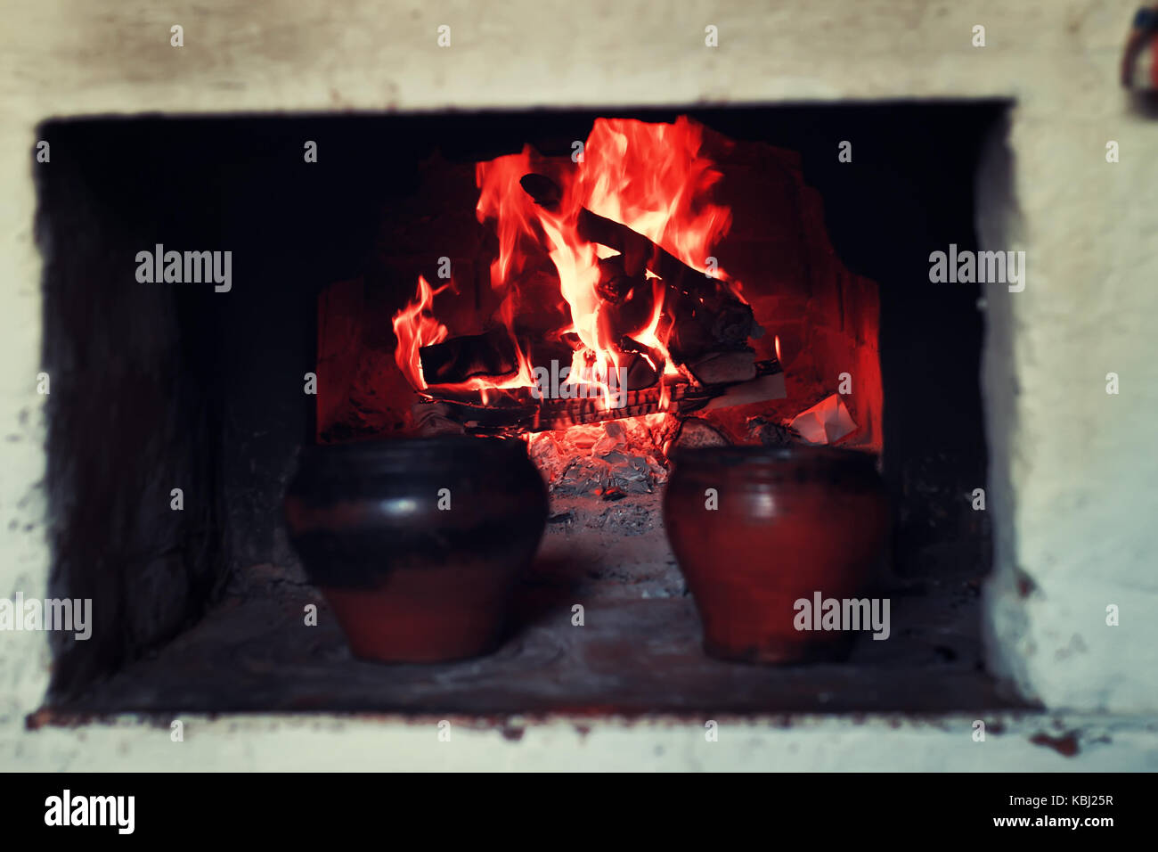 pot in the oven and oven fork - Stock Image