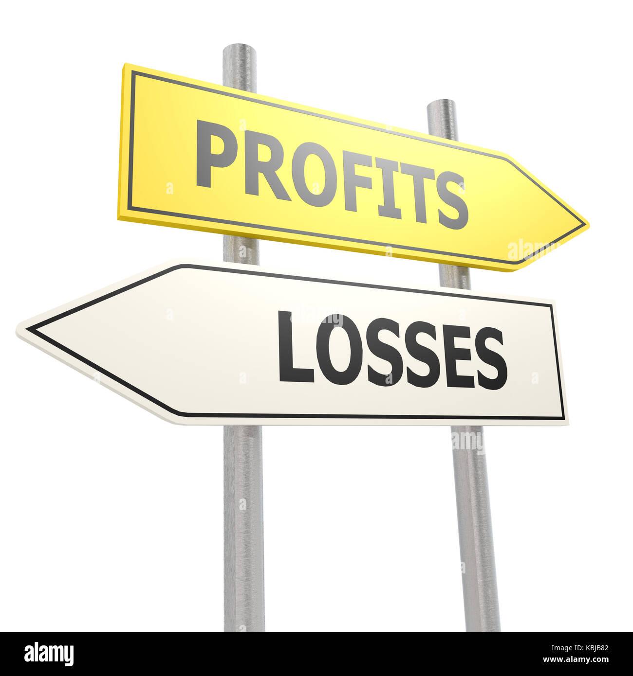 Profits losses road sign - Stock Image