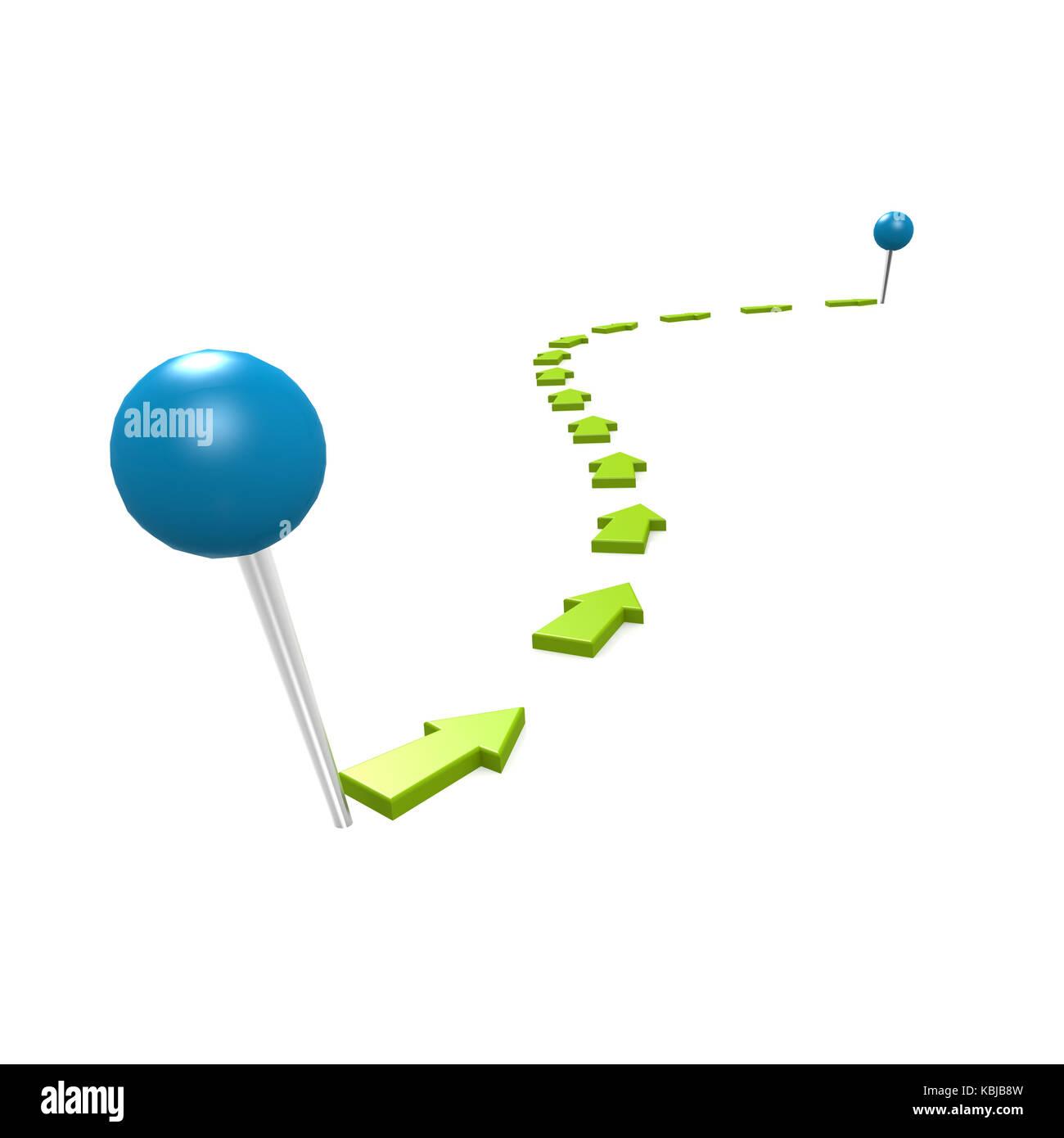 Round pin green path - Stock Image