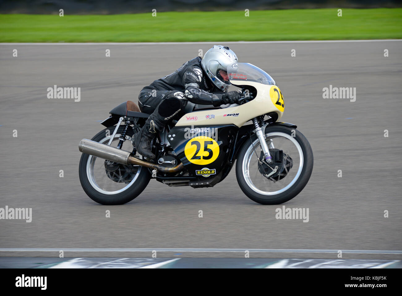 1960 Norton Manx 500 owned by Elaine Farrall racing at Goodwood Revival 2017. Space for copy - Stock Image