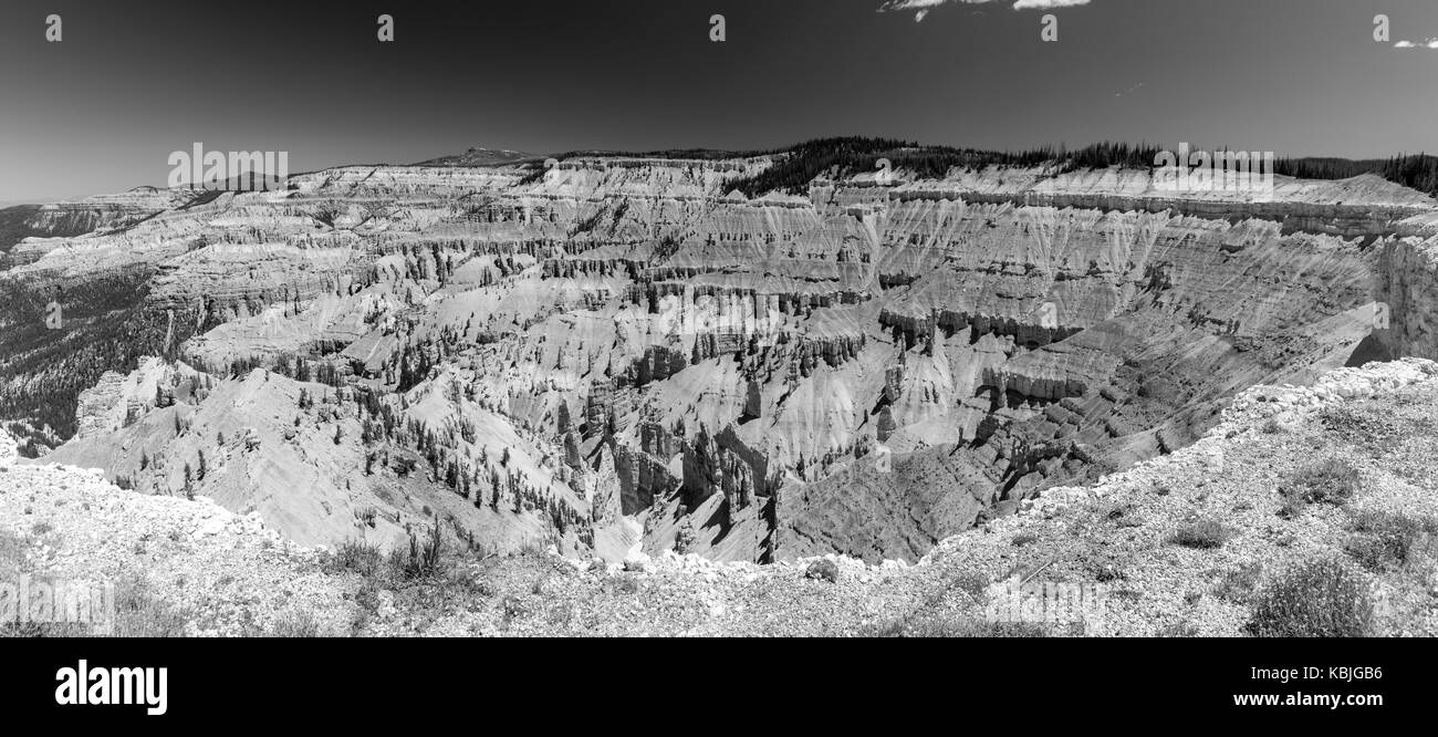 Black and White Panormic View of Cedar Breaks National Monument Stock Photo