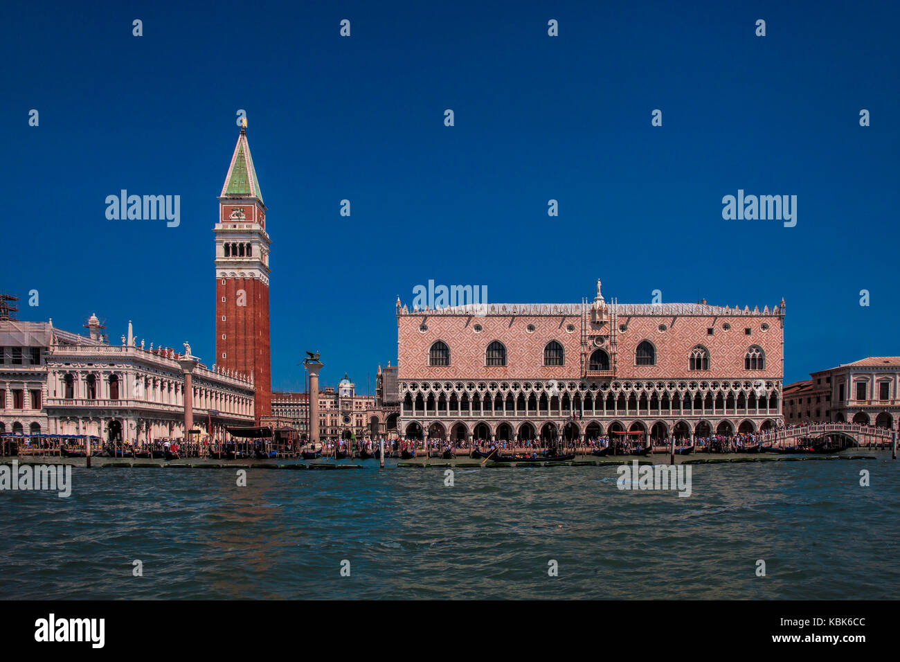 The Doges Palace and the Campanile, landmarks of Venice, Italy - Stock Image