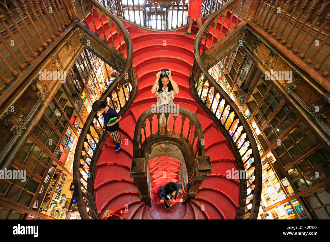 PORTO, PORTUGAL - JULY 07, 2017: High angle view of stairs inside the famous bookshop Lello e Irmao, considered - Stock Image