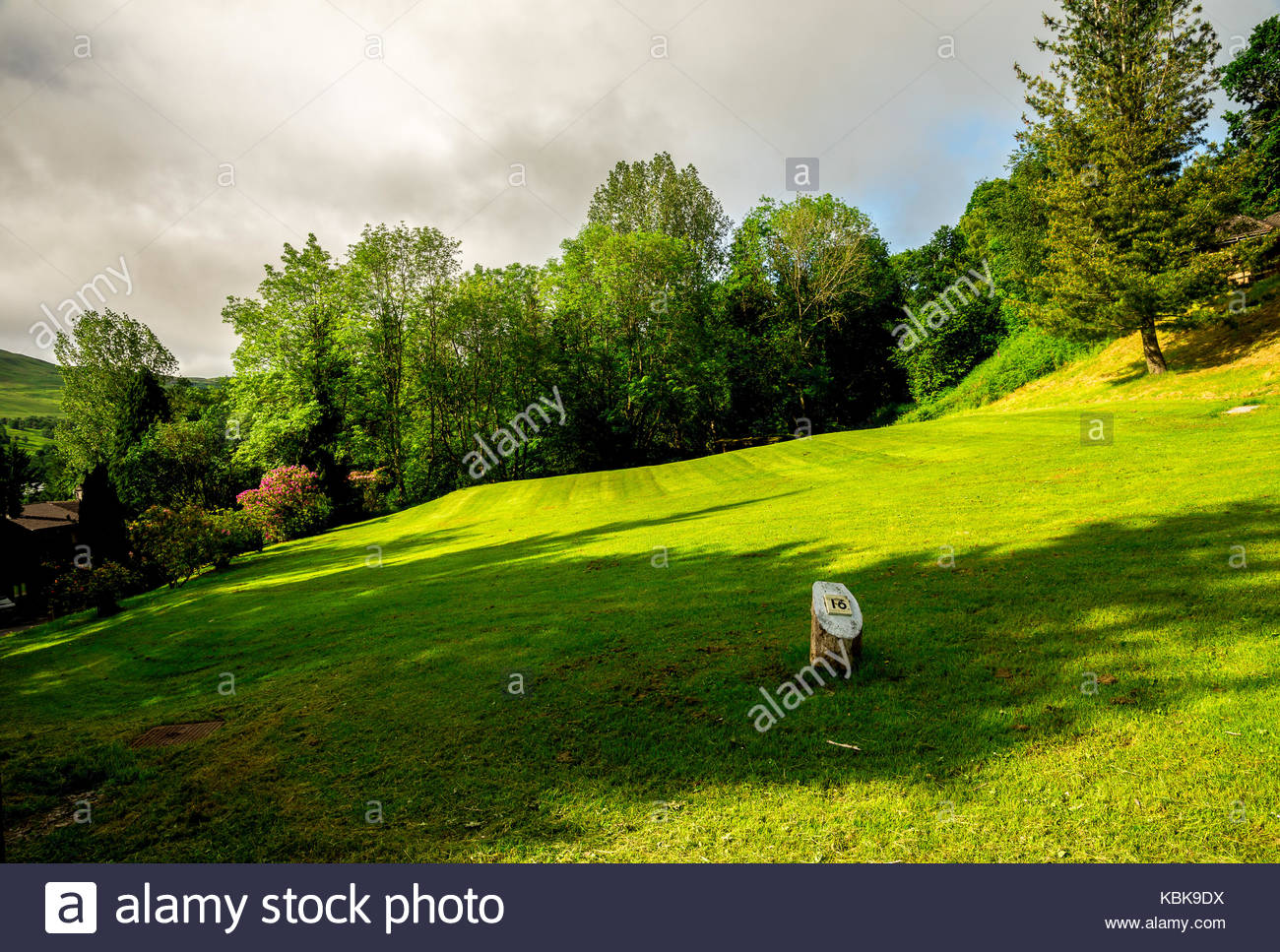 A view to hole sixteen tee off and fairway at Loch Tay disc golf course, central Scotland - Stock Image