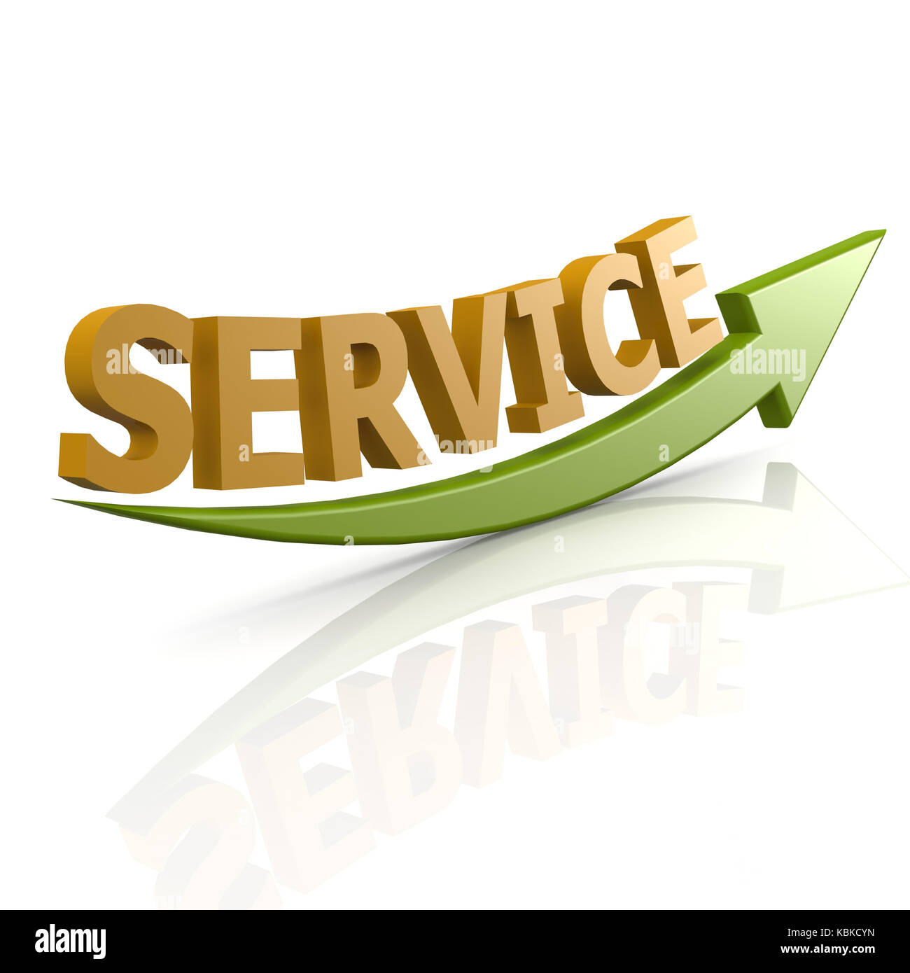Green arrow  service word - Stock Image