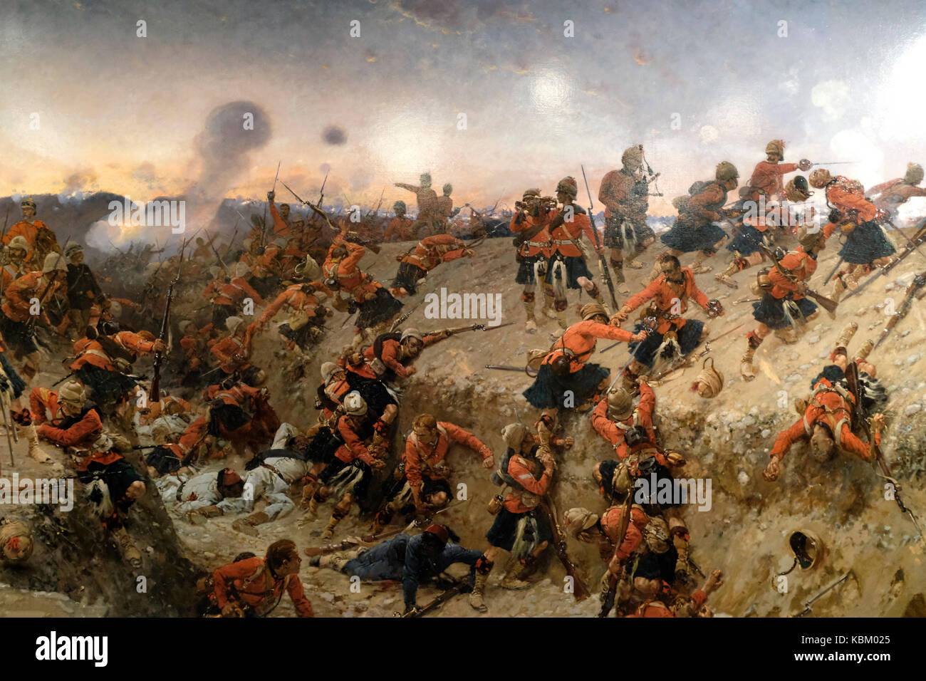 The Storming of Tel El Kebir - The 1st Battalion of the Black Watch are shown attacking enemy defences in this battle - Stock Image