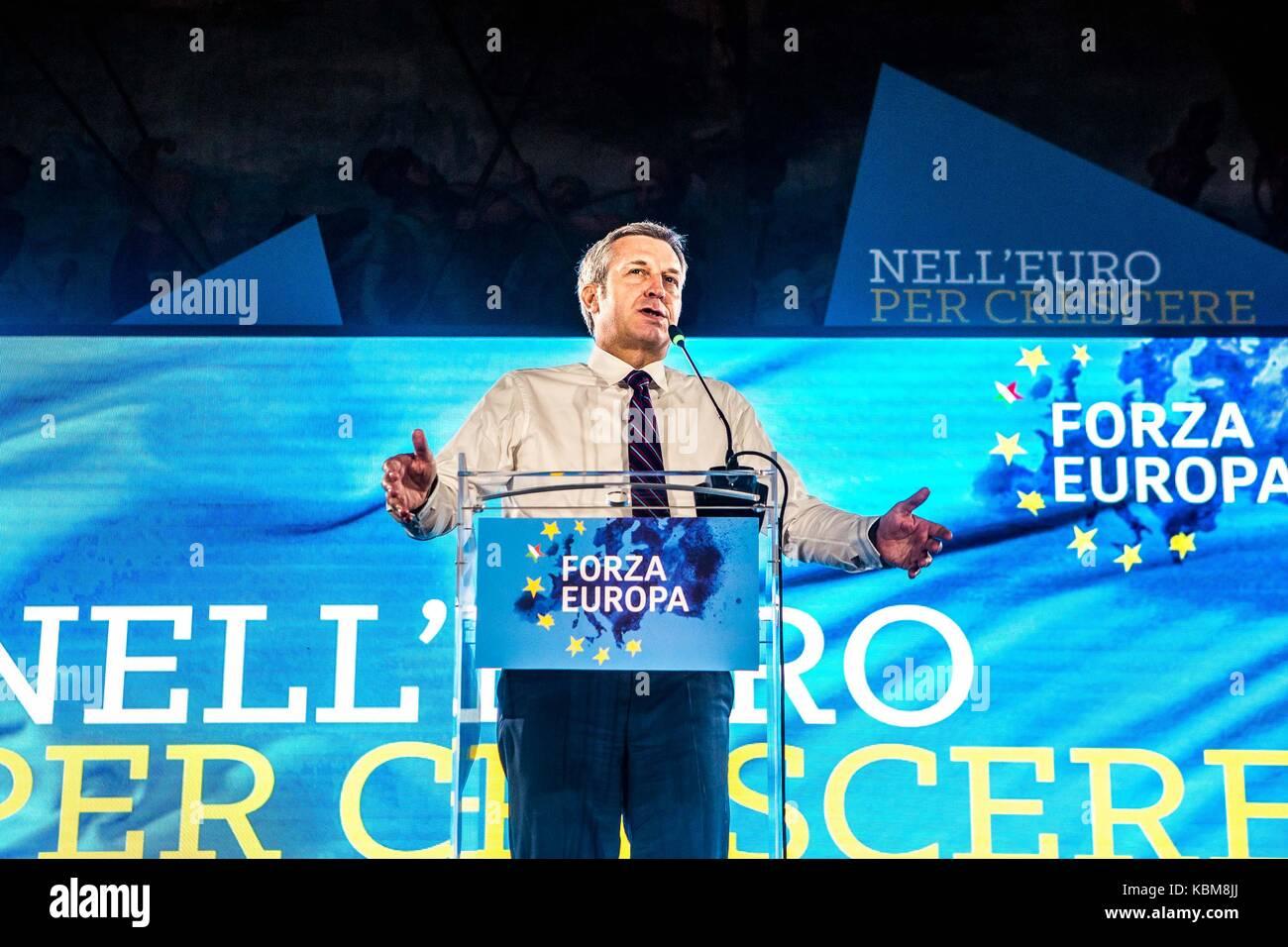 Italian politician Bendetto Della Vedova during a Forza Europa convention in Milano, Italy Stock Photo