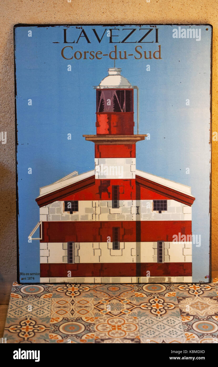 Corsica: the Lavezzi Lighthouse in one of the souvenir shops in an alley of Bonifacio, city at the southern tip Stock Photo