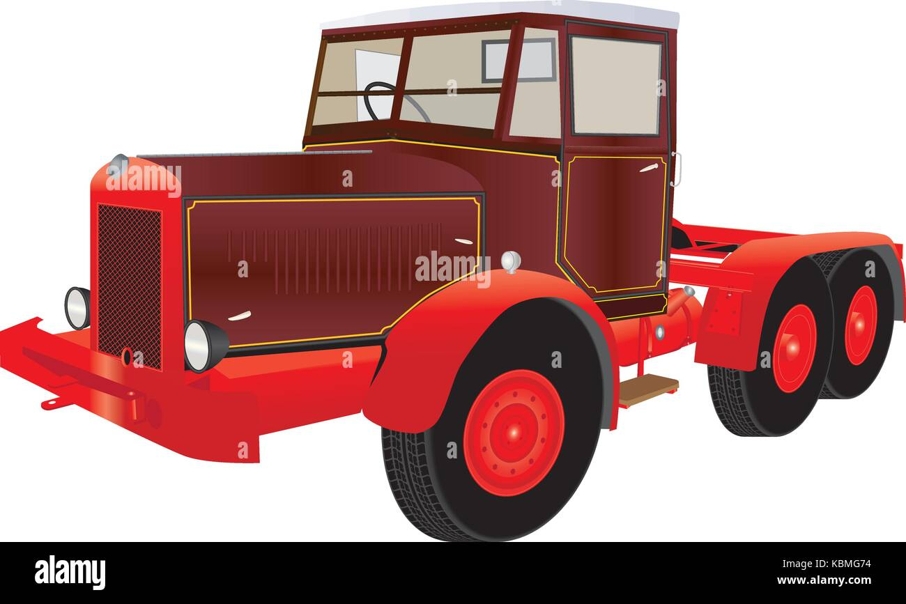 A detailed vector illustration of a Vintage Heavy Red and Maroon Six Wheeler Articulated Truck with yellow lining - Stock Vector