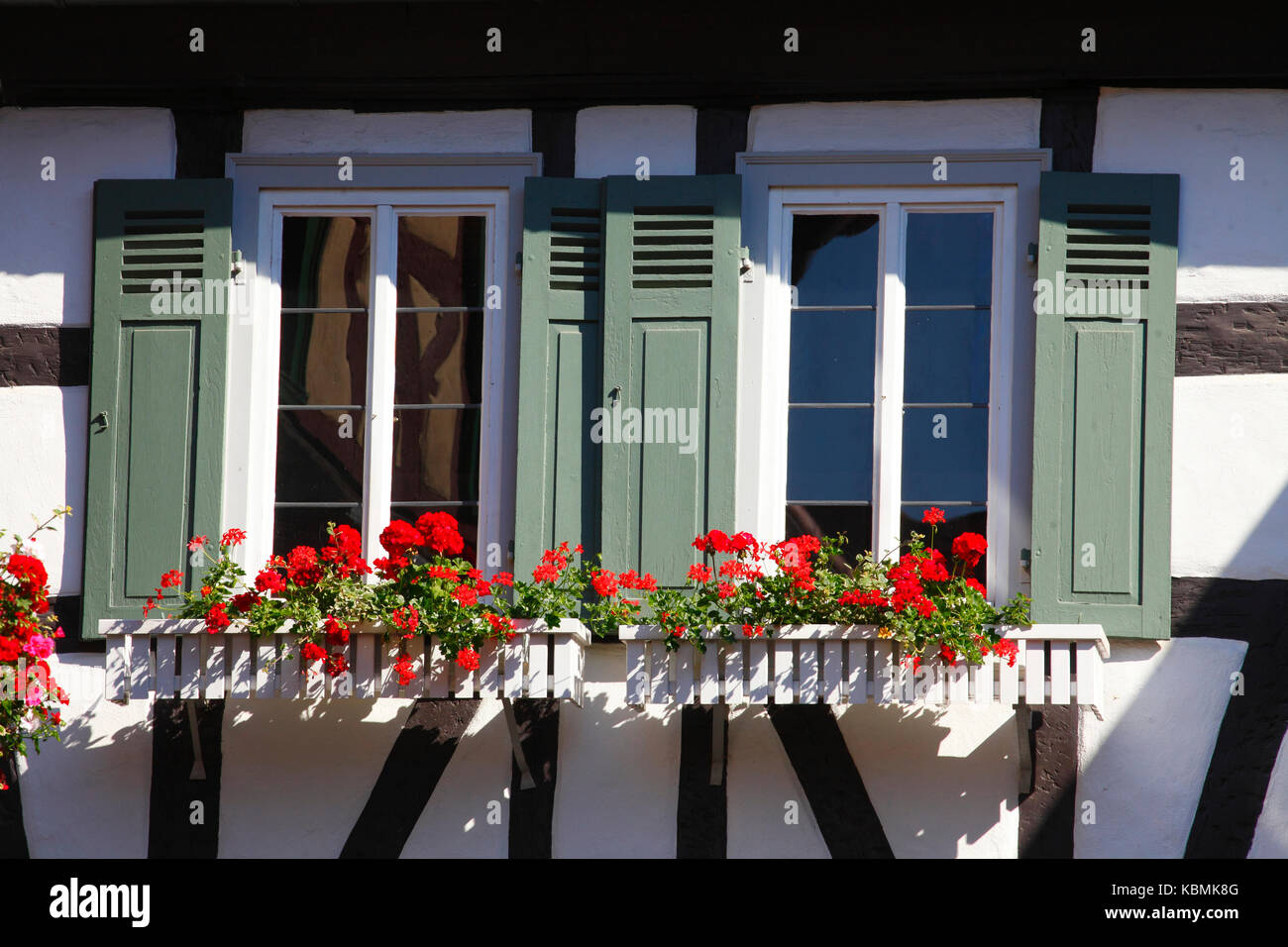 Windows With Wooden Window Boxes And Flower Boxes In Old Town Stock Photo Alamy