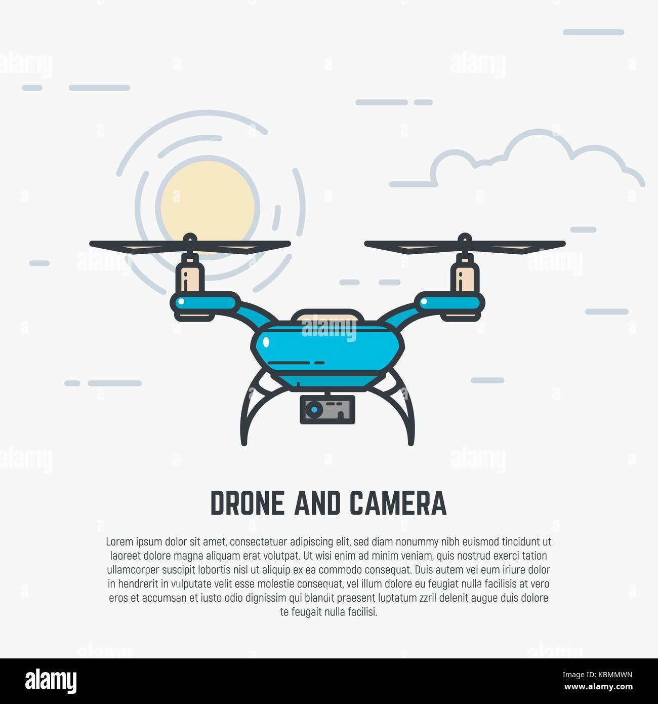 Quadcopter line illustration - Stock Image