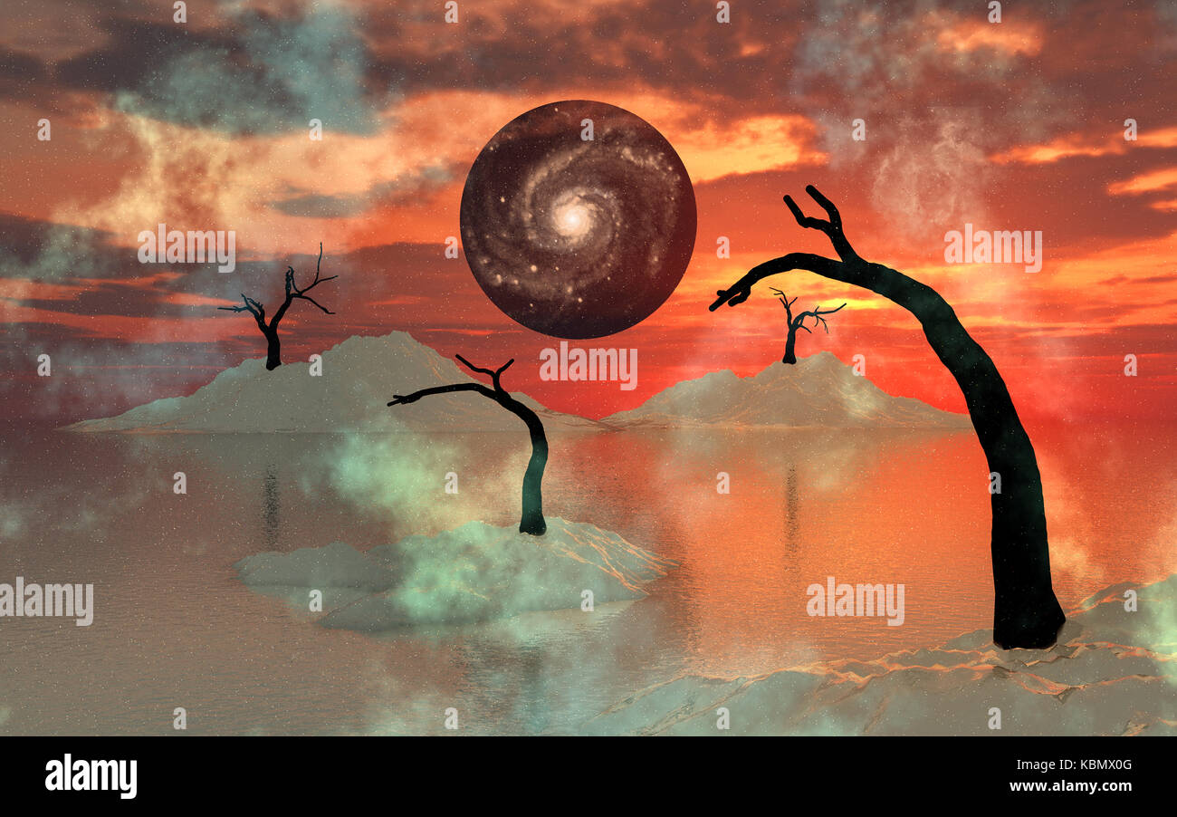 A Dying World Being Pulled Into A Black Hole - Stock Image