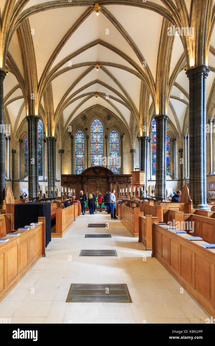 Temple Church interior, nave of the 12th century medieval place of worship, Inner and Middle Temple, London, England - Stock Image