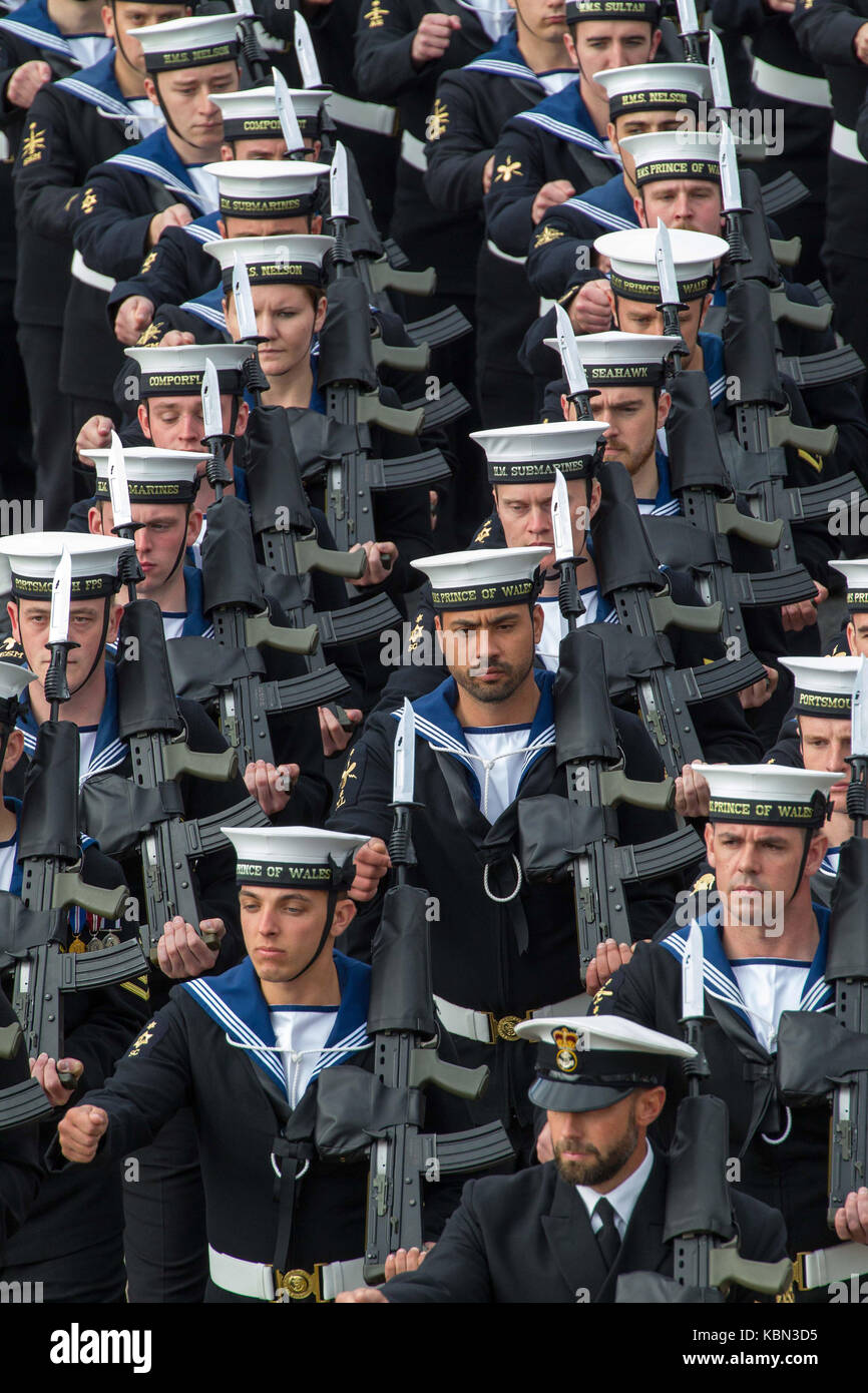 Navy personnel on parade , marching in formation - Stock Image