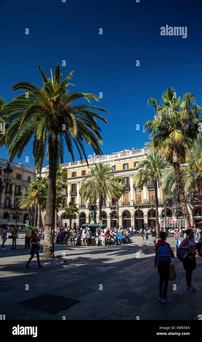 plaza real square famous landmark in central barcelona las ramblas old town spain - Stock Image